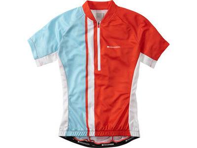 Madison Tour women's short sleeve jersey, chilli red / sea blue